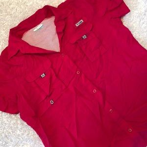 Columbia Womens Bright Pink Button Up